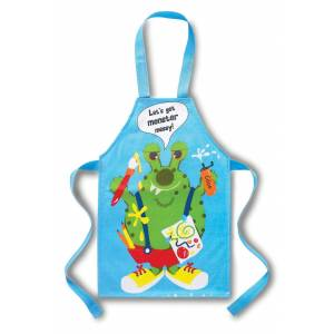 Cooksmart barnens PVC förkläde, låt oss få Monster rörigt, blå