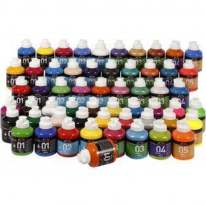 A-Color akrylfärg, 57x500 ml, mixade färger