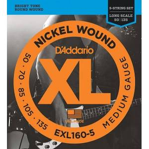 Exl160-5 XL nickel wound strings for 5 string bass guitar 5-string long medium 50-135 D'Addario
