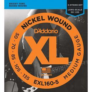 Exl160-5 XL nickel wound strings for 5 string bass guitar 5-string long medium 50-135 D'Addario