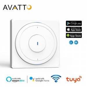 AVATTO Tuya EU Wifi wall Switch, Smart Light push Switch with Physical Button interruptor 1/2/3 Gang Work with Alexa,Google Home