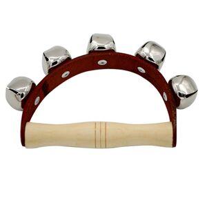 Orff instruments 5-Bells Stick Shaker Percussion instrument Leather+wooden hand bell Dance props baby rammelaars handvat gifts