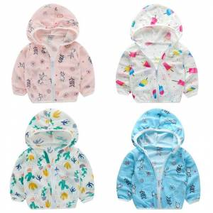 UV Clothing Children Beach Jacket Baby Boy Girl Seaside Hooded Sunscreen Coat Boys Girls Long Sleeve Summer Kids Clothes Outwear