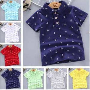 2020 Summer Baby Boys Polo Shirts Short Sleeve Anchor Lapel Clothes for Girls Odell Cotton Breathable Kids Tops Outwear 12M-5Y
