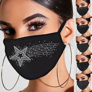 Fashion PM2.5 Rhinestone Face Mask Windproof Masks Cotton Protective Breathable Dust Mouth Cover Washable Reusable Mouth Mask