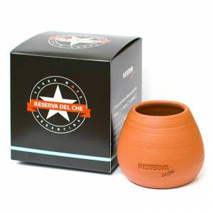 Vessel (Cup) for mate Reserva del Che made of clay round for 30g of yerba, 150 ml, tea mate, art. 017