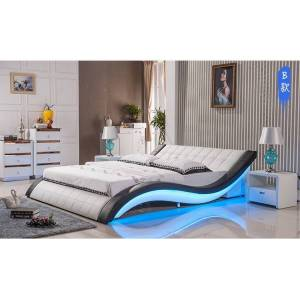 post modern real genuine leather bed / soft bed/double bed king/queen size bedroom with sound system for iphone ipad LED light