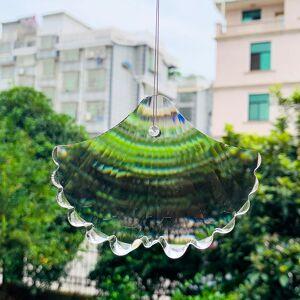 100mm Glass Ginkgo Biloba Peacock Tail Crystals Prism Suncatcher for Windows Decor Pendants Chandelier Parts Wedding Home Decor