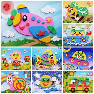 10 designs/lot DIY Cartoon Animal 3D EVA Foam Sticker Puzzle Early Learning Education Toys for Children crafts for kids-10