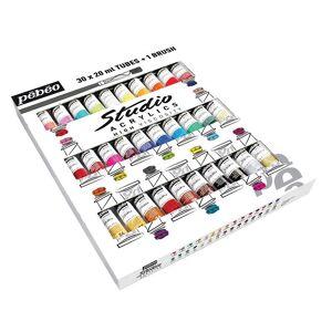 "Paint acrylic ""Pebeo"" set studio acrylics with a brush 30 color. 20 ml"