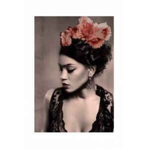 Love Warriors Poster Woman of color - Frida with flower crown print No color
