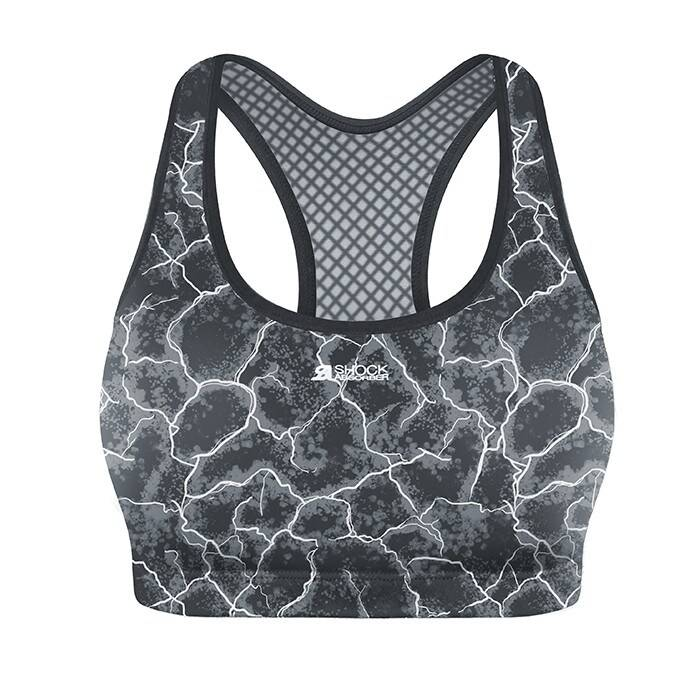 Shock Absorber Active Crop Top, Asphalt Print