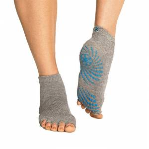 Gaiam Heather Grey Toeless Grippy Socks
