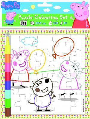Peppa Pig Greta Gris målarpussel med pennor