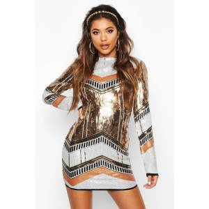 boohoo Boutique Sequin Bodycon Dress, Metallics 38