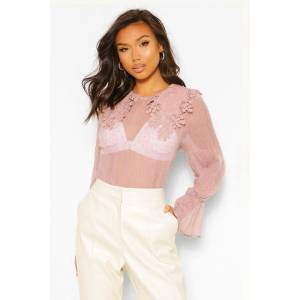 boohoo Crinkle Dobby Mesh Blouse Applique Collar, Pink M/L