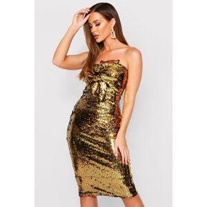 boohoo Sequin Bow Midi Dress, Metallics 34