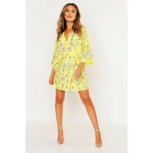 boohoo Premium Hand Embellished Kimono Sleeve Dress, Yellow 34