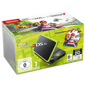 Nintendo 2DS XL Black + Lime Green MK7 Pre-installed