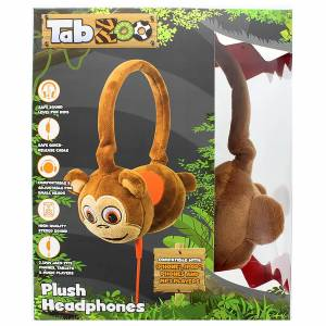 Lazerbuilt TabZoo Plush Monkey Childrens Wired Headphones