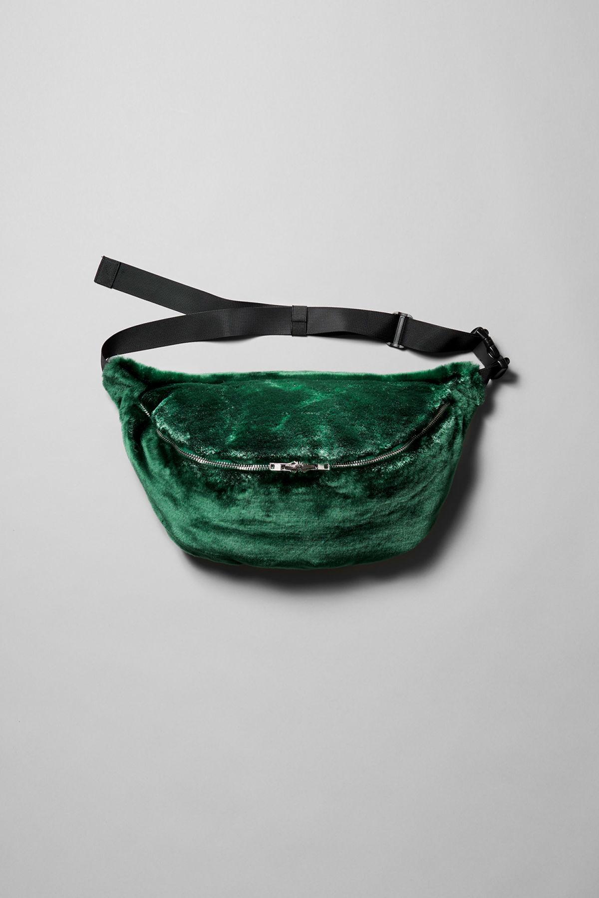 Park Faux Fur Shoulder Bag - Green