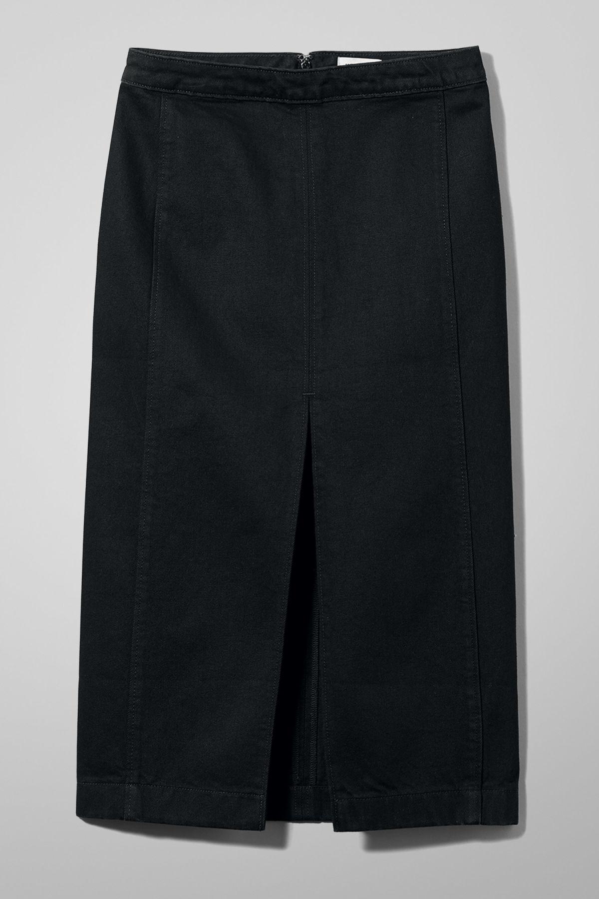 Some Tuned Black Denim Skirt - Black