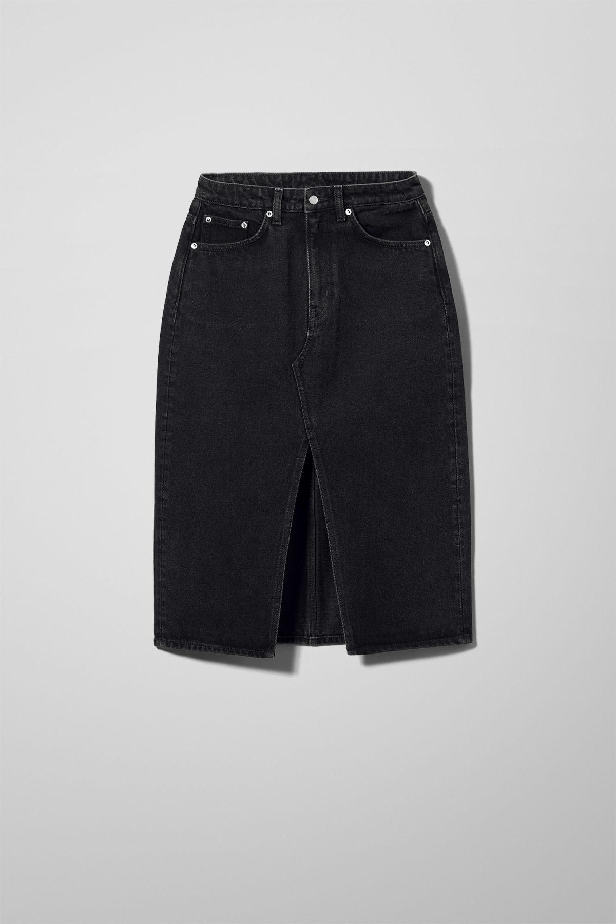 Wynn Tuned Black Denim Skirt - Black
