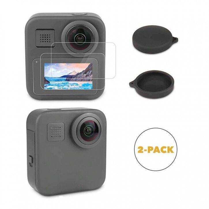 AK Linsskydd / Skärmskydd GoPro MAX - Silikon / Härdat glas - 2-Pack