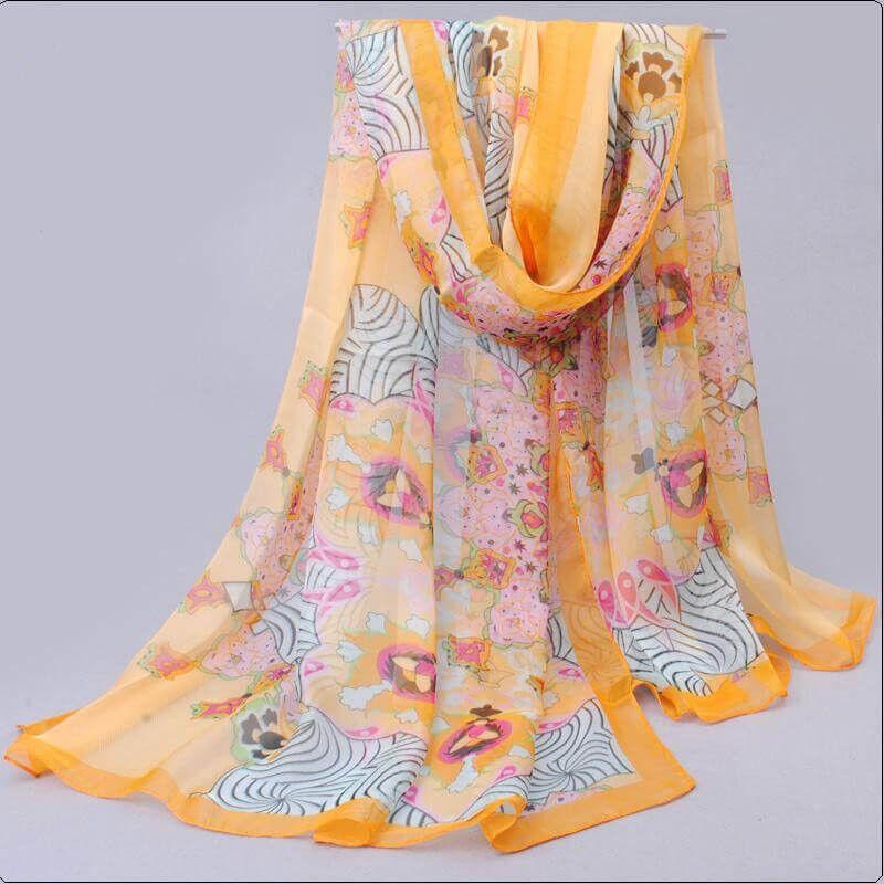 Sjal blommig paisleyliknande  mönster Gul_paisy