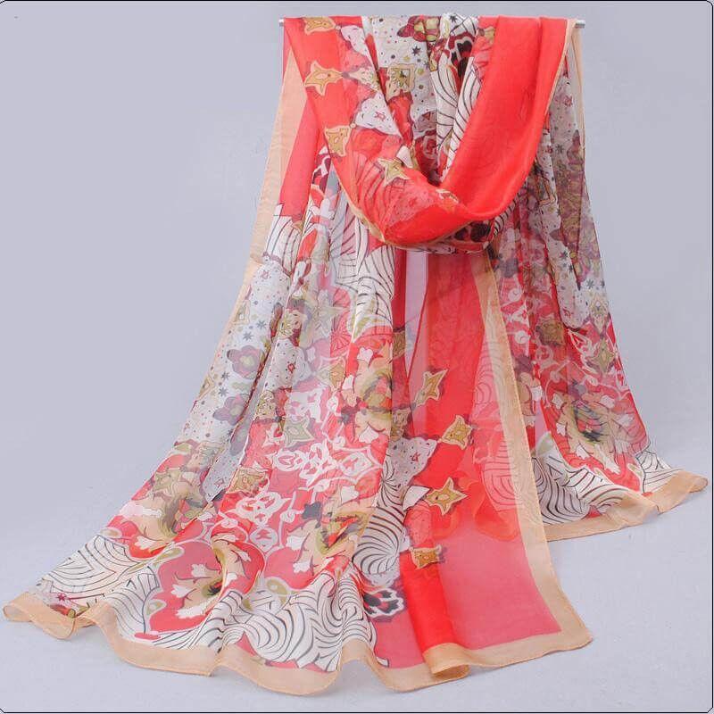 Sjal blommig paisleyliknande  mönster orange_paisy