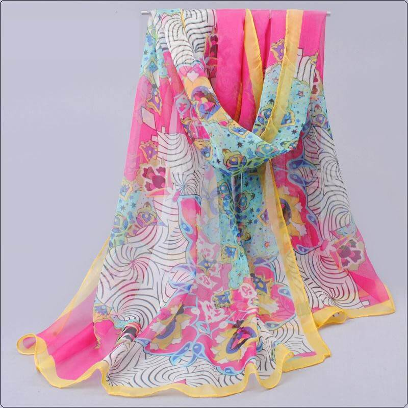 Sjal blommig paisleyliknande  mönster rosa_ljusblå