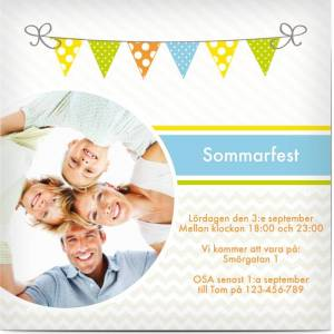 Optimalprint Inbjudningar Sommarfest, glansigt papper, standard-kuvert, 1 st, fotokort (1 foto), familjetillfälle, flagga, kvadratiskt, enkelt, Optimalprint