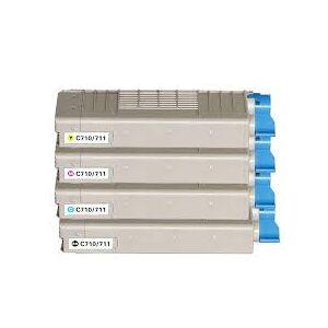 Oki C710/C711 combo pack 4 stk kompatibel lasertoner (45500 sidor)