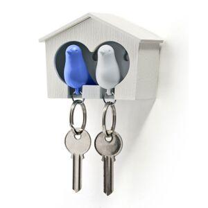 Qualy Design Vit Dubbel Key Holder Med Blå & Vit Fugl