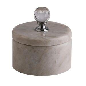 Svensk Marmor LIGHT CRYSTAL förvaringsask med kristallknopp It's Design silver