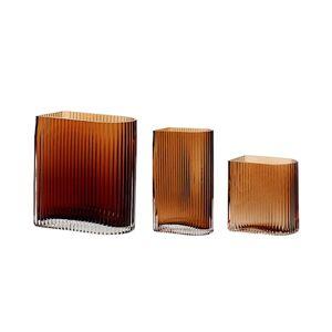 Hübsch Vas Glas Orange/Brun