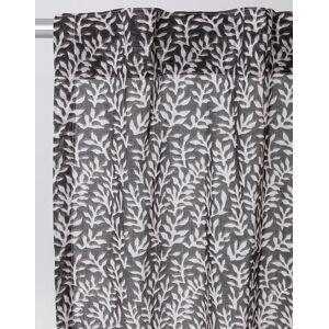 Indiska Mönstrad gardin i bomull 120X250  Dark grey