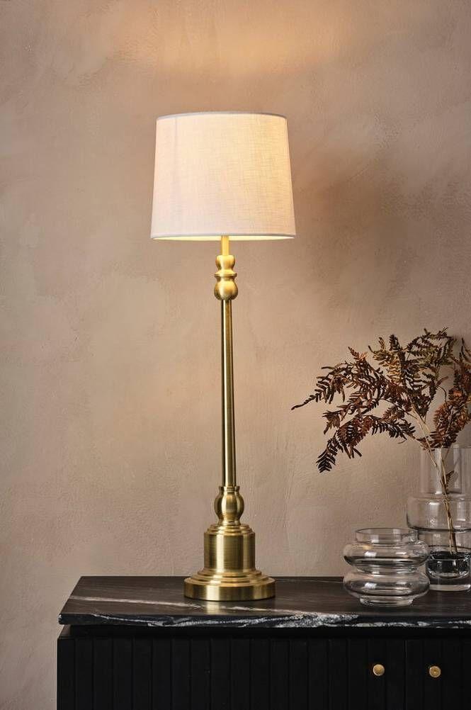 ANDREW LEE bordslampa - hög Borstad mässing/vit