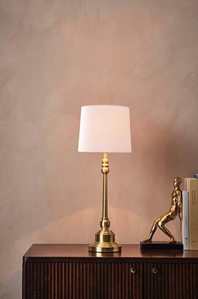 ANDREW LEE bordslampa - låg Borstad mässing/vit