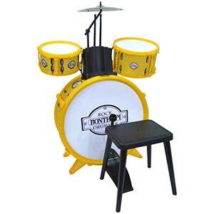 Bontempi 51 4501 slagverk: bettrumma Ø 385 mm med pedal. 2 små trummor Ø 170 handfat Ø 210 mm. 2 slagproppar. Äkta ljud. Inkl. hocker. Mått: 500 x 500 x 680 mm, gul