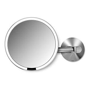 simplehuman , 20 cm, sensorspegel med väggfäste, 5 x förstoring, rostfritt stål, 5 års garanti