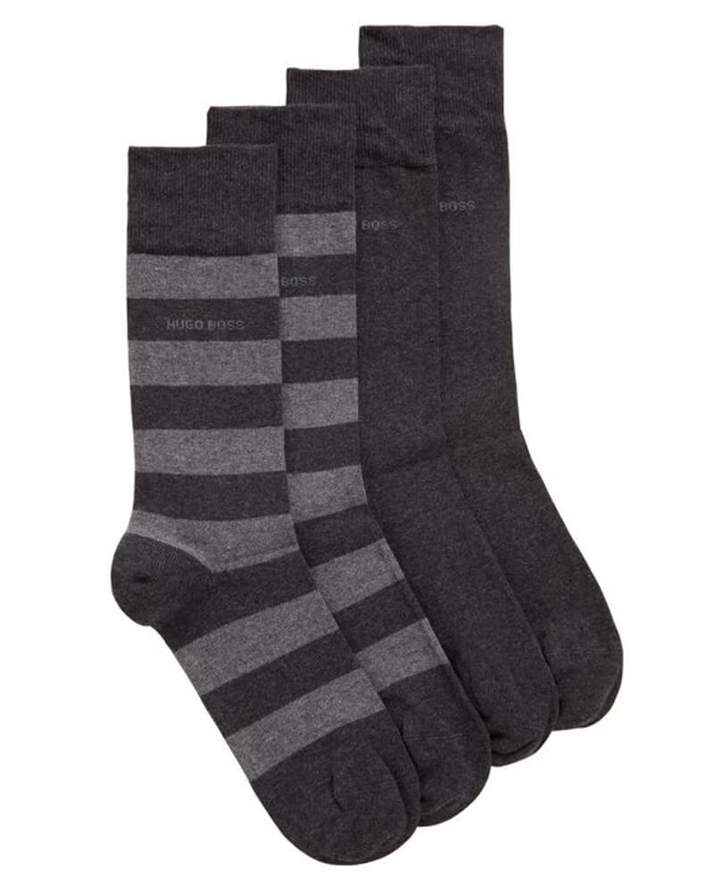 Boss Hugo Boss strumpor 2-pack storlek 43-46 - Block Stripe grå