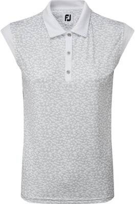 Footjoy Womens Cap Sleeve Print Interlock Polo Shirt - White, Large