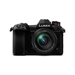 DC-G9MEG-K Panasonic DMC Lumix G systemkamera (20 MP, 4 K, 6 K foto, bildstabilisator, OLED-sökare, WiFi, damm och stänkskydd), Kamerahus med objektiv, svart