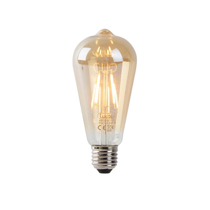 LUEDD Set med 3 LED-filament ST64 2200K guld med ljus-mörk sensor