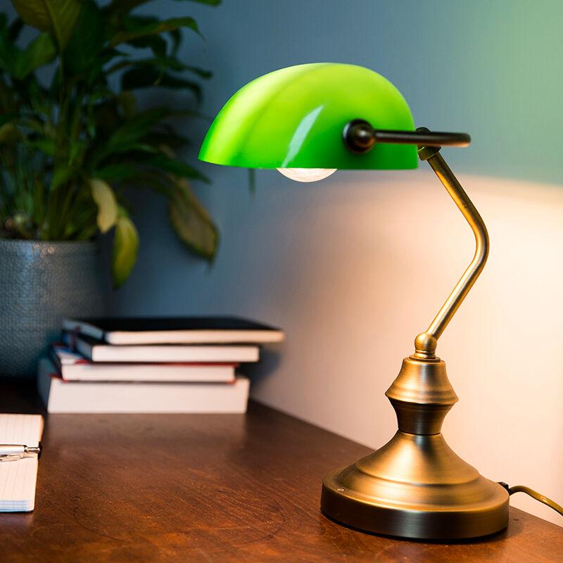 QAZQA Bankirlampa 'Banker' Klassisk brons - Passande för LED / Inomhus
