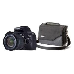 Canon EOS 250D svart + EF-S 18-55mm f/4-5,6 IS STM + väska Mirrorless Mover 20 pewter