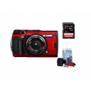 Olympus Tough TG-6 Röd +Adventure kit + SDHC Extreme Pro 32GB 95MB/s UHS-I U3 V30