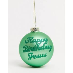 "Typo – Julgranskula med ""Happy Birthday Jesus""-tryck-Grön"