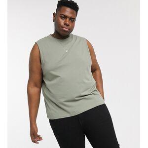 New Look Plus – Khakifärgat linne-Grön